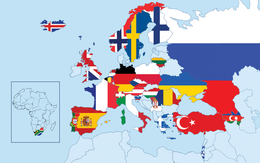 Societies of the European Chapter up to July 2012.